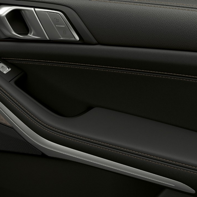 Close-up of the inner door of the BMW X7 with standard equipment features